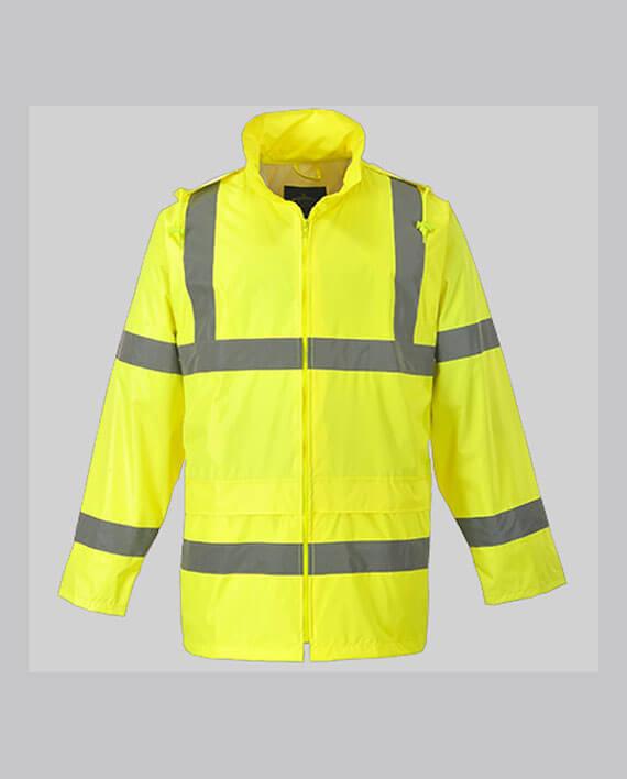 veste de pluie haute visibilité jaune